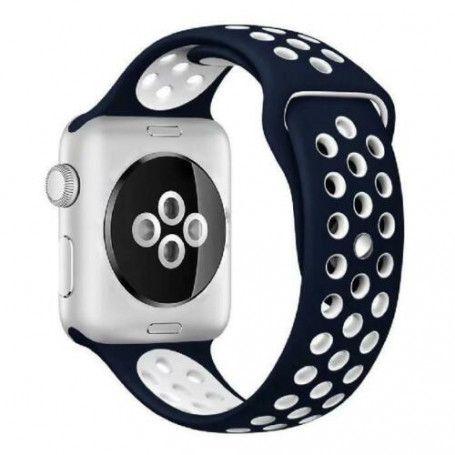 Curea Sport Perforata, compatibila Apple Watch 1/2/3/4, Silicon, 38mm/40mm, Albastru / Alb la pret imbatabile de 65,00LEI , intra pe PrimeShop.ro.ro si convinge-te singur