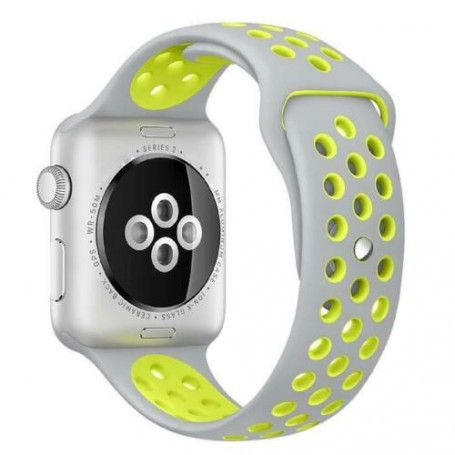 Curea Sport Perforata, compatibila Apple Watch 1/2/3/4, Silicon, 38mm/40mm, Gri / Galben la pret imbatabile de 44,99 LEI , intra pe PrimeShop.ro.ro si convinge-te singur