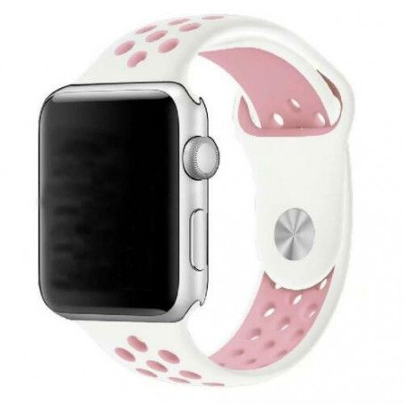 Curea Sport Perforata, compatibila Apple Watch 1/2/3/4, Silicon, 38mm/40mm, Alb / Roz