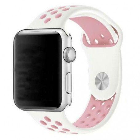 Curea Sport Perforata, compatibila Apple Watch 1/2/3/4, Silicon, 38mm/40mm, Alb / Roz la pret imbatabile de 38,99lei , intra pe PrimeShop.ro.ro si convinge-te singur