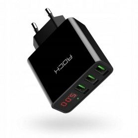 Incarcator Retea Priza, Rock T14, Display Led, 3 x USB 2.4A, Fast Charge, Negru Rock - 1