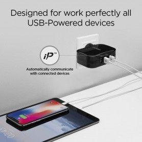 Incarcator Retea Priza, Spigen F401, 4 port-uri USB pana la 2.4A, Negru Spigen - 6