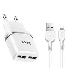 Incarcator Priza Retea, Hoco C12, 2.4A Dual USB + cablu Lightning, Alb Hoco - 1