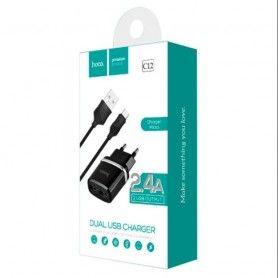 Incarcator Priza Retea, Hoco C12, 2.4A Dual USB + cablu Micro Usb, Negru Hoco - 3