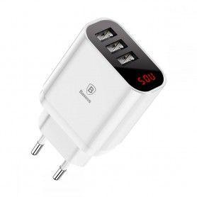Incarcator Priza Retea, Baseus Mirror Lake Intelligent, Led, Triplu USB, 3.4 A, Alb Baseus - 1