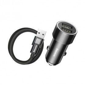 Incarcator Auto, Baseus Mini , 2 x Usb + Cablu Usb Tip C Baseus - 1