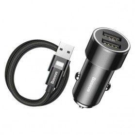 Incarcator Auto, Baseus Mini , 2 x Usb + Cablu Usb Lightning Baseus - 1