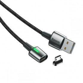 Cablu de date, incarcare, din zinc,magnetic, Baseus USB micro USB 2.4A 1m, Negru Baseus - 1