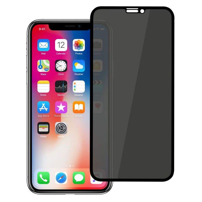 Folie protectie iPhone X / XS, sticla securizata, Privacy Anti Spionaj , Neagra