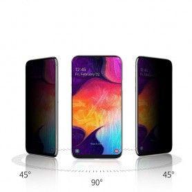 Folie protectie Samsung A40, sticla securizata, Privacy Anti Spionaj, Neagra  - 2