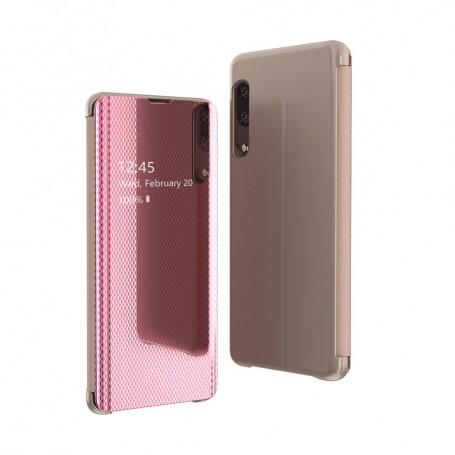 Husa Samsung Galaxy A20e - Noul Design Flip Mirror Clear View Tip Carte - Roz / Aurie la pret imbatabile de 51,00LEI , intra pe PrimeShop.ro.ro si convinge-te singur