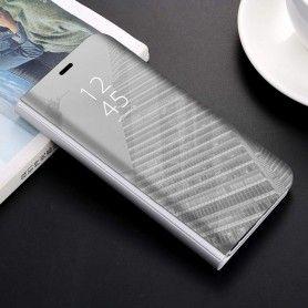 Husa tip carte pentru Samsung Galaxy A40 Flip Mirror Stand Clear View, Argintiu  - 1