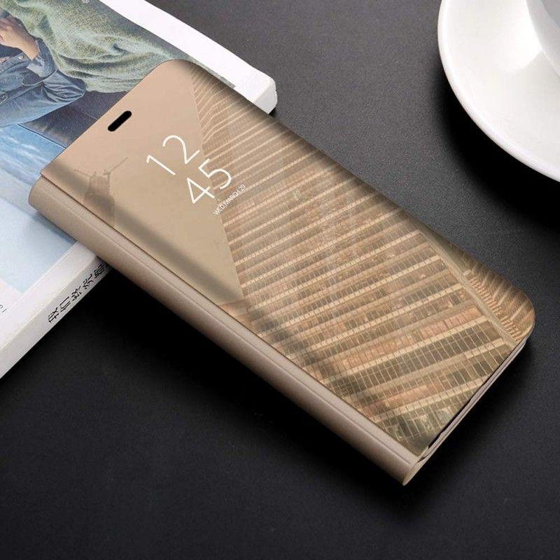 Husa tip carte pentru Samsung Galaxy A40 Flip Mirror Stand Clear View, Auriu  - 1