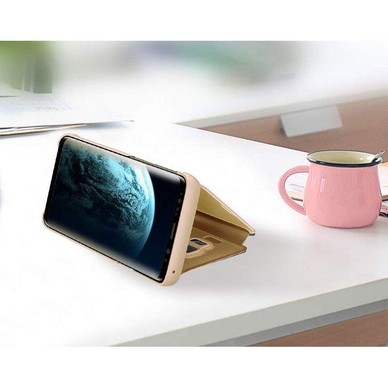 Husa tip carte pentru Samsung Galaxy A40 Flip Mirror Stand Clear View, Auriu - 2