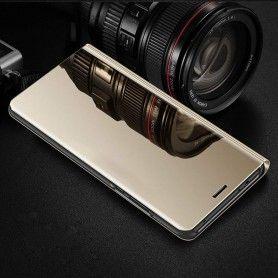 Husa tip carte pentru Samsung Galaxy A40 Flip Mirror Stand Clear View, Auriu  - 3