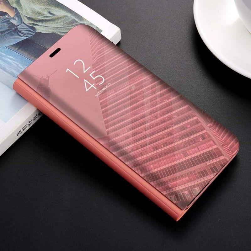 Husa tip carte pentru Samsung Galaxy A40 Flip Mirror Stand Clear View, Roz-Auriu  - 1
