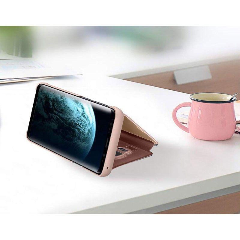 Husa tip carte pentru Samsung Galaxy A40 Flip Mirror Stand Clear View, Roz-Auriu - 2
