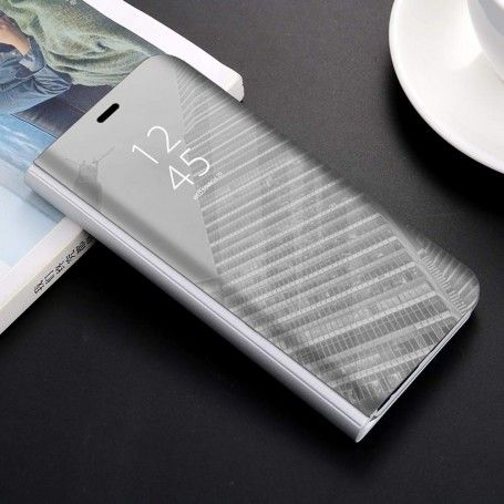 Husa tip carte pentru Samsung Galaxy A20e Flip Mirror Stand Clear View, Argintiu la pret imbatabile de 48,00LEI , intra pe PrimeShop.ro.ro si convinge-te singur