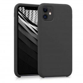 Husa Silicon iPhone XI 11 Pro Max, interior din microfibra, Neagra  - 1