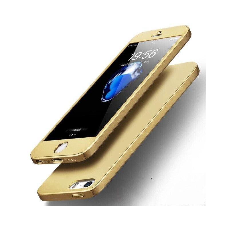 Husa 360 Protectie Totala Fata Spate pentru iPhone 5 / 5S / SE , Aurie  - 1