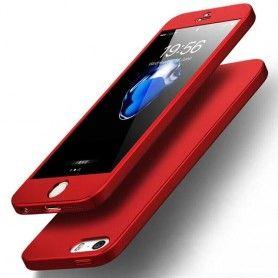 Husa 360 Protectie Totala Fata Spate pentru iPhone 5 / 5S / SE , Rosie  - 1