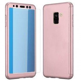Husa 360 Protectie Totala Fata Spate pentru Samsung Galaxy A6 Plus (2018) , Rose Gold  - 1