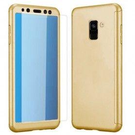 Husa 360 Protectie Totala Fata Spate pentru Samsung Galaxy A8 (2018) , Aurie  - 1
