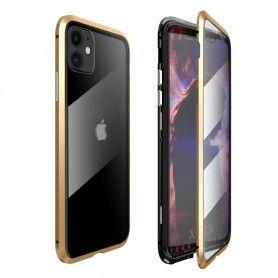 Husa Magnetica 360 cu sticla fata spate, pentru iPhone XI 11, Auriu  - 1