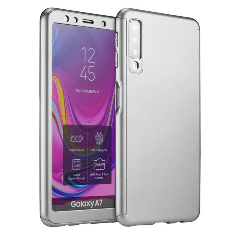 Husa 360 Protectie Totala Fata Spate pentru Samsung Galaxy A7 (2018) , Argintie  - 1