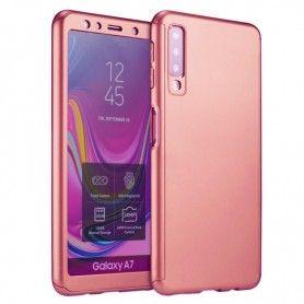 Husa 360 Protectie Totala Fata Spate pentru Samsung Galaxy A7 (2018) , Rose Gold  - 1