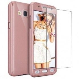 Husa 360 Protectie Totala Fata Spate pentru Samsung Galaxy J3 (2016) J310 , Rose Gold  - 1