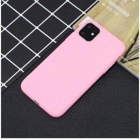 Husa Silicon iPhone XI 11, interior din microfibra, Roz  - 4