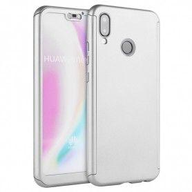 Husa 360 Protectie Totala Fata Spate pentru Huawei Y7 2019 , Argintie  - 1