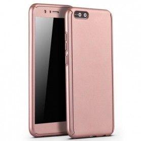Husa 360 Protectie Totala Fata Spate pentru Huawei Y6 (2018), Rose Gold  - 1