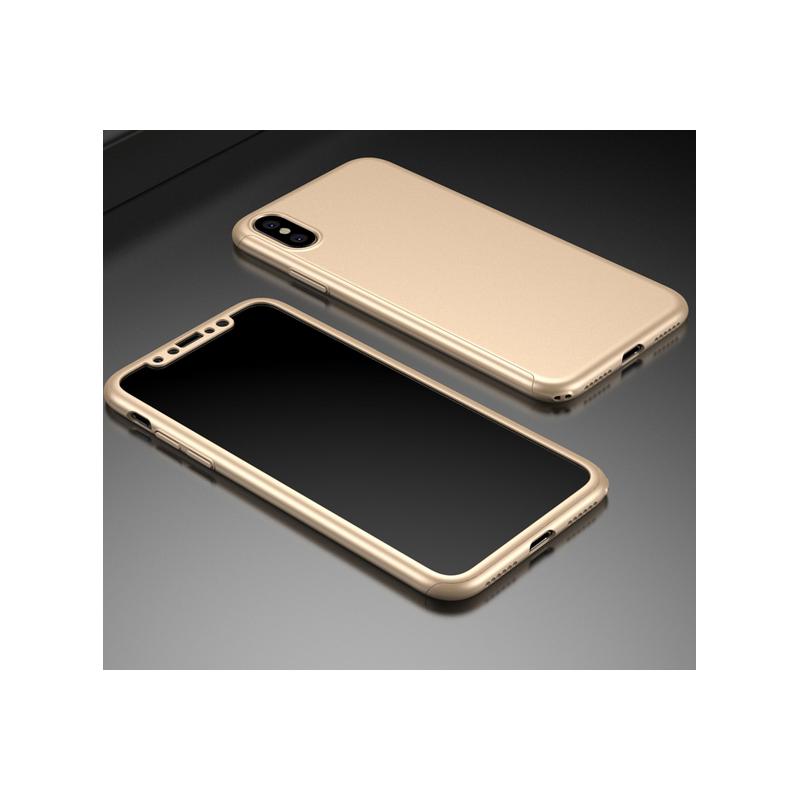 Husa 360 Protectie Totala Fata Spate pentru iPhone X / XS , Aurie  - 1