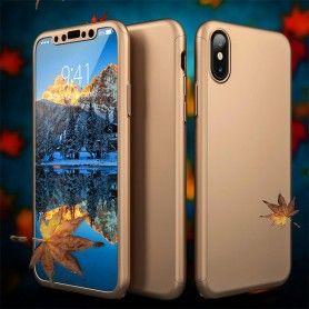 Husa 360 Protectie Totala Fata Spate pentru iPhone X / XS , Aurie  - 2