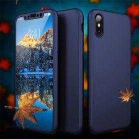 Husa 360 Protectie Totala Fata Spate pentru iPhone X / XS , Albastra  - 1
