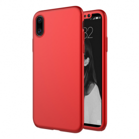 Husa 360 Protectie Totala Fata Spate pentru iPhone X / XS , Rosie  - 1