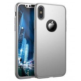 Husa 360 Protectie Totala Fata Spate pentru iPhone XR , Argintie  - 1