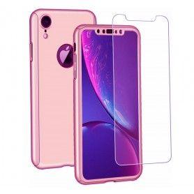 Husa 360 Protectie Totala Fata Spate pentru iPhone XR , Rose Gold  - 1