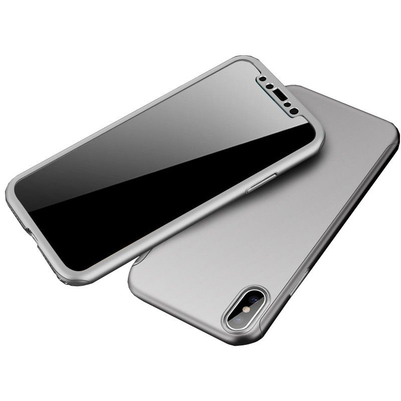 Husa 360 Protectie Totala Fata Spate pentru iPhone XS Max , Argintie  - 1