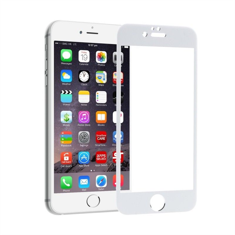 Folie Protectie Ecran pentru iPhone 6 Plus / 6S Plus, Sticla securizata, Full 3D 0.33mm, Alb