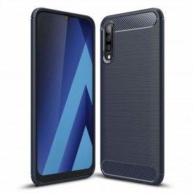 Husa Tpu Carbon pentru Samsung Galaxy A70 , Midnight Blue  - 1