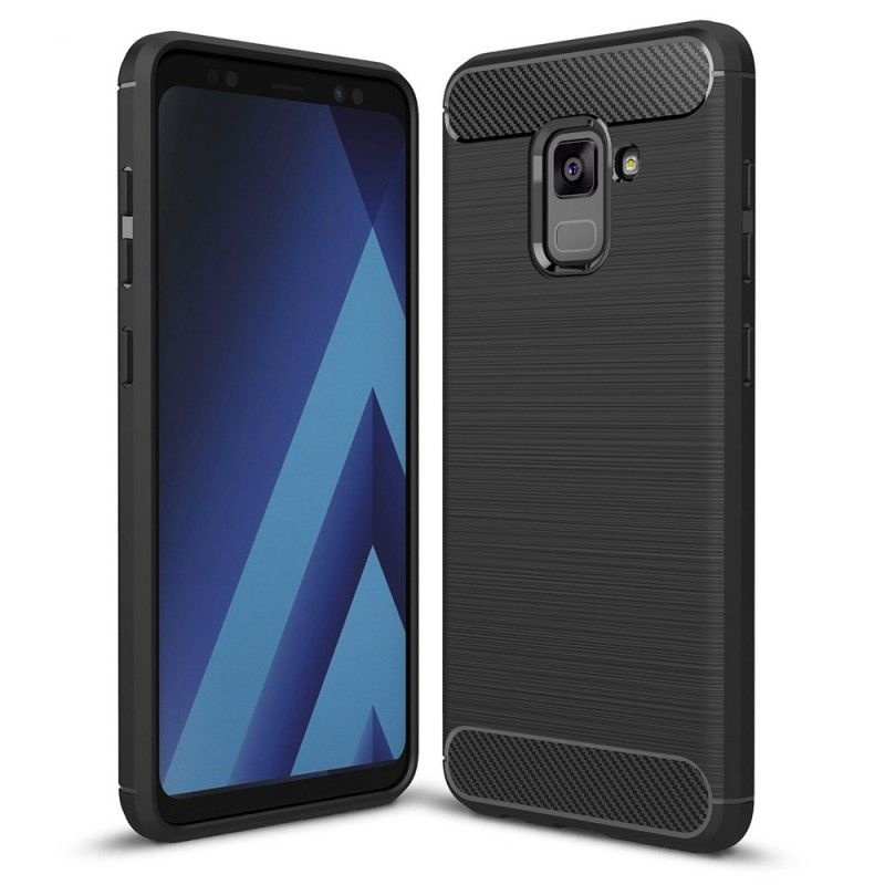 Husa Tpu Carbon pentru Samsung Galaxy A8 (2018), Neagra  - 1
