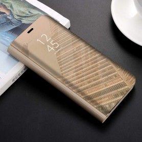 Husa tip carte pentru Samsung Galaxy A30s / A50 / A50s Flip Mirror Stand Clear View, Auriu  - 1