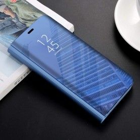 Husa tip carte pentru Samsung Galaxy S10e - Flip Mirror Stand Clear View, Albastra  - 1
