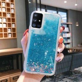 Husa Glitter Lichid pentru Samsung Galaxy S10 Lite / Galaxy A91 , Transparenta cu glitter albastru  - 1