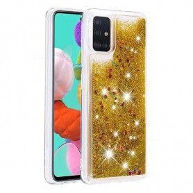 Husa Glitter Lichid pentru Samsung Galaxy S10 Lite / Galaxy A91 , Transparenta cu glitter auriu  - 1