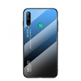 Husa Huawei P40 Lite E / Huawei Y7p - Gradient Glass, Albastru cu Negru  - 1