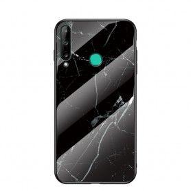 Husa Huawei P40 Lite E / Huawei Y7p - Gradient Glass, Marble Negru/Alb  - 1